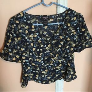Women's Hooked Up Floral Blue Top Size M
